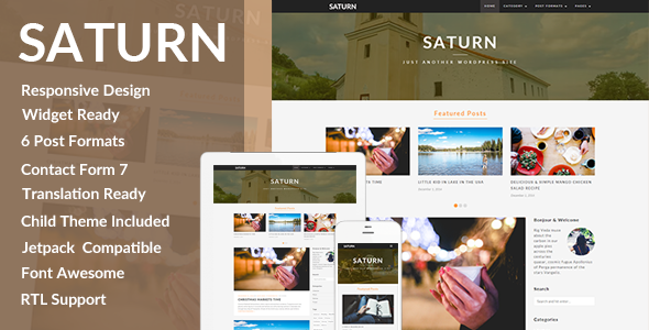 SATURN – A Personal/Travel WordPress Blog Theme