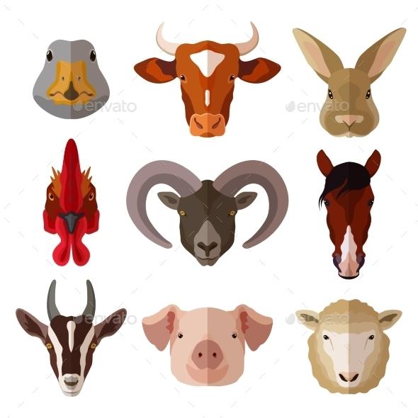 Pet Portrait Flat Icon Set - Animals Characters
