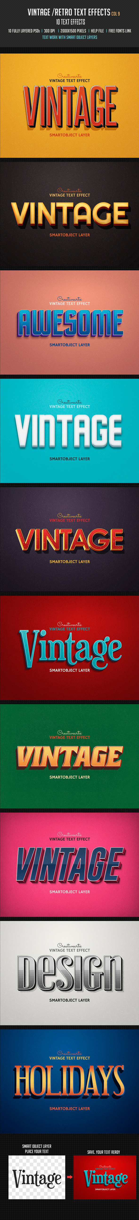 Vintage Retro Text Effects Col 9 - Text Effects Styles