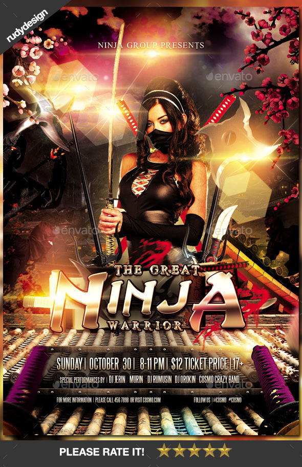 Ninja Warrior Party Flyer Design - Events Flyers