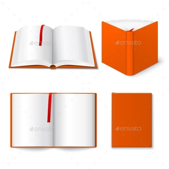 Open Book Templates Set - Objects Vectors