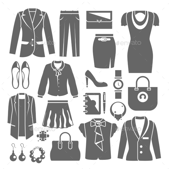 Businesswoman Clothes Set - Web Elements Vectors