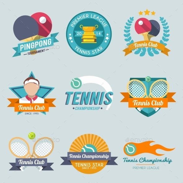 Tennis Label Set - Sports/Activity Conceptual