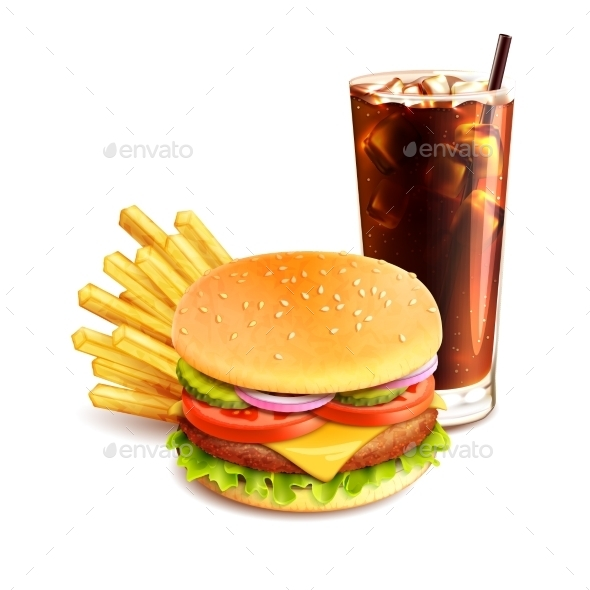 Hamburger French Fries And Cola - Food Objects