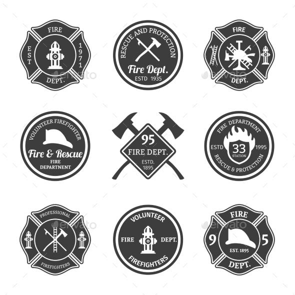 Fire Department Emblems Black - Miscellaneous Vectors