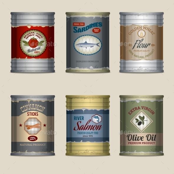 Food Cans Set - Objects Vectors