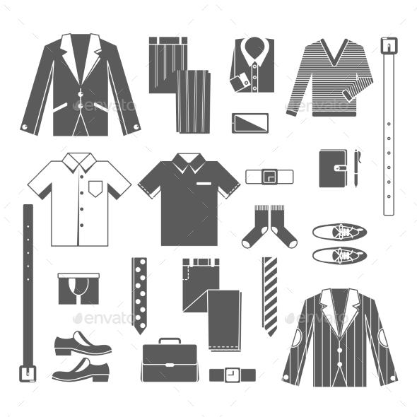 Business Man Clothes Icons Set - Concepts Business