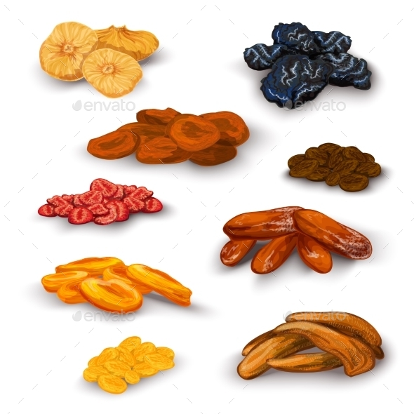 Dried Fruit Icons Set - Food Objects