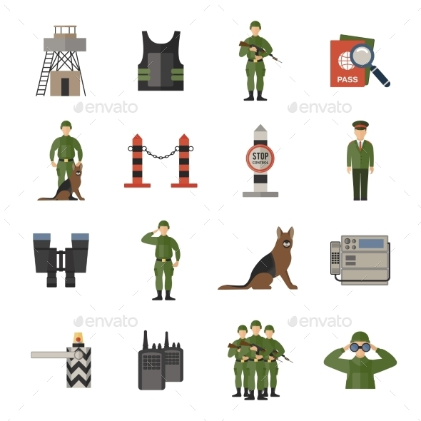 Border Guard Icons Flat - People Characters