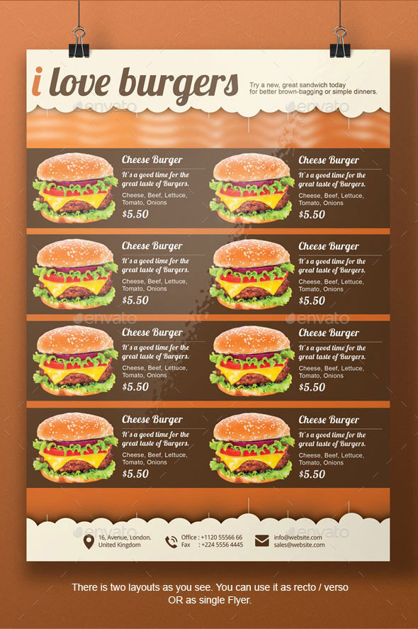 Burger flyer template by blogankids graphicriver for Sandwich shop menu template