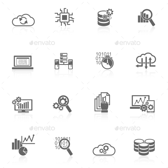 Database Analytics Icons Black - Web Technology