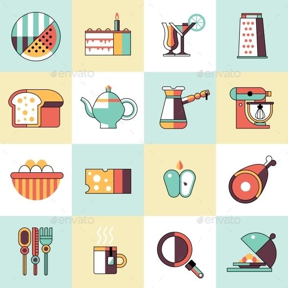 Food Icons Flat Line Set - Food Objects