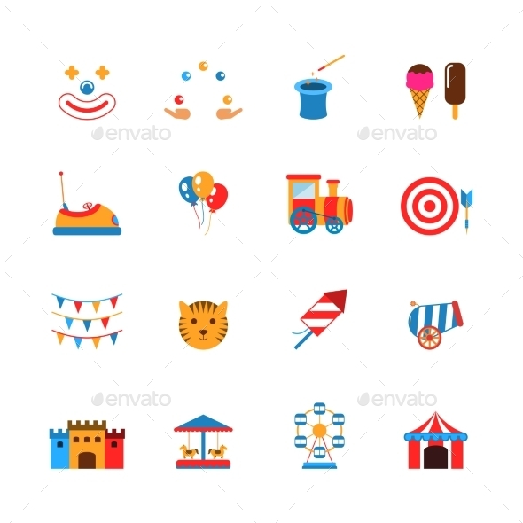 Amusement Park Icons Flat - Miscellaneous Icons