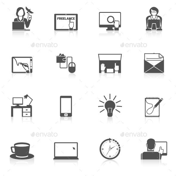 Freelance Icon Black Set - Concepts Business