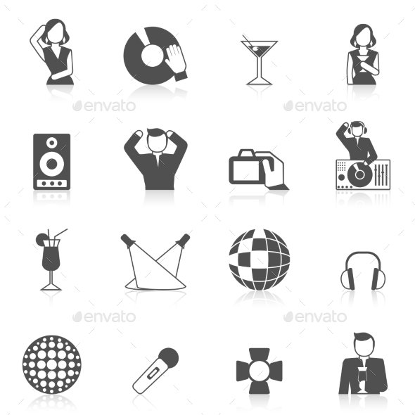 Nightclub Icon Set - Web Elements Vectors