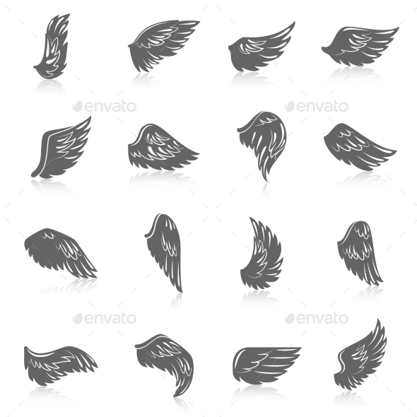 Wing Icon Set - Web Elements Vectors