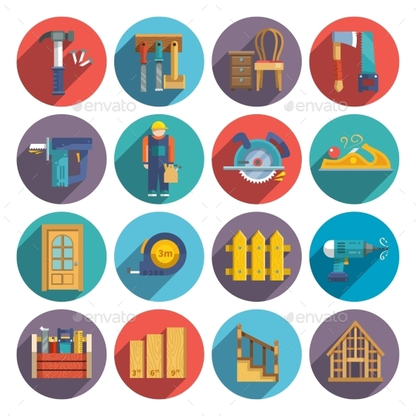 Carpentry Icons Flat - Objects Vectors