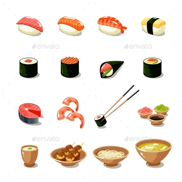 Asia Food Icon Set - Food Objects