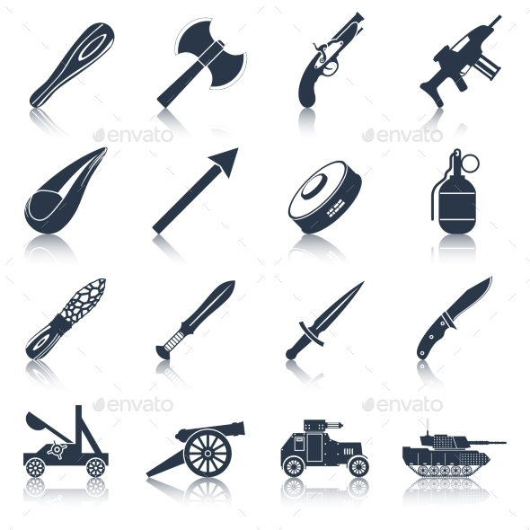 Weapon Icons Black Set - Objects Vectors