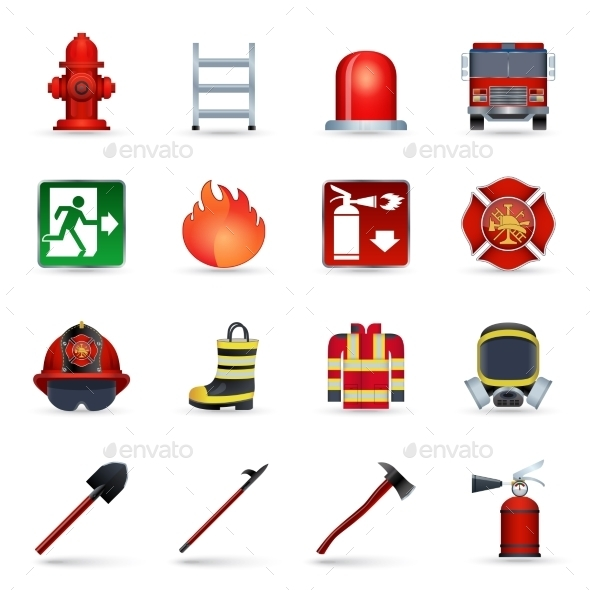 Firefighter Icons Set - Icons