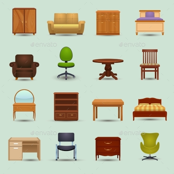Furniture Icons Set - Objects Vectors