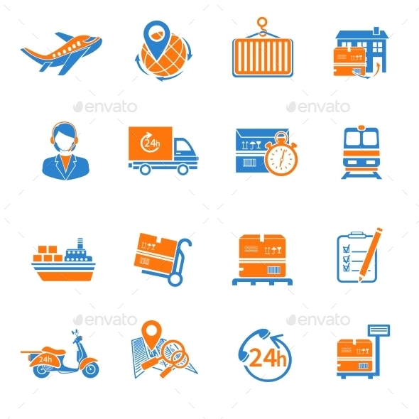 Logistic Icons Set Orange - Web Elements Vectors
