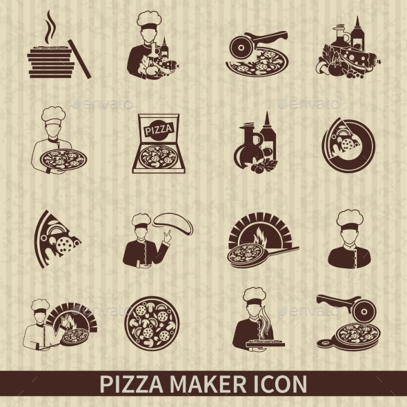 Pizza Maker Icon Black - Food Objects