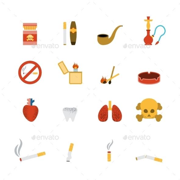 Smoking Icon Flat Set - Miscellaneous Icons