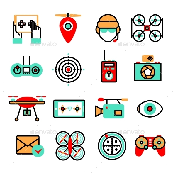 Drones Icon Set - Technology Icons