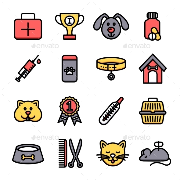 Veterinary Icon Set - Animals Characters
