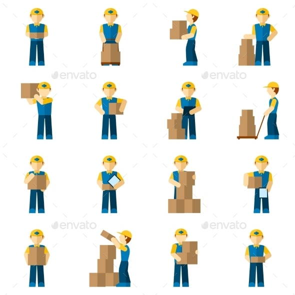 Delivery Man Icon Flat - Business Icons