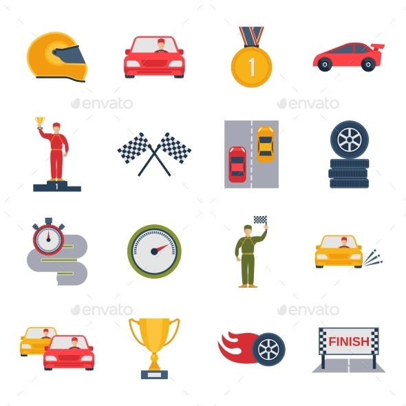 Auto Sport Icon Flat - Web Icons