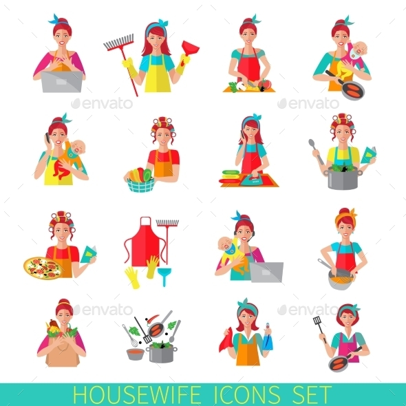 Housewife Icon Set - People Characters
