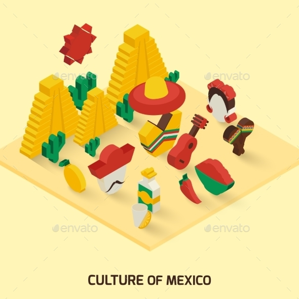 Mexican Icon Isometric - Travel Conceptual