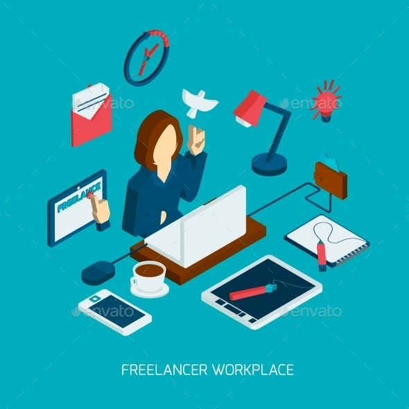 Freelance Workplace Isometric - Concepts Business