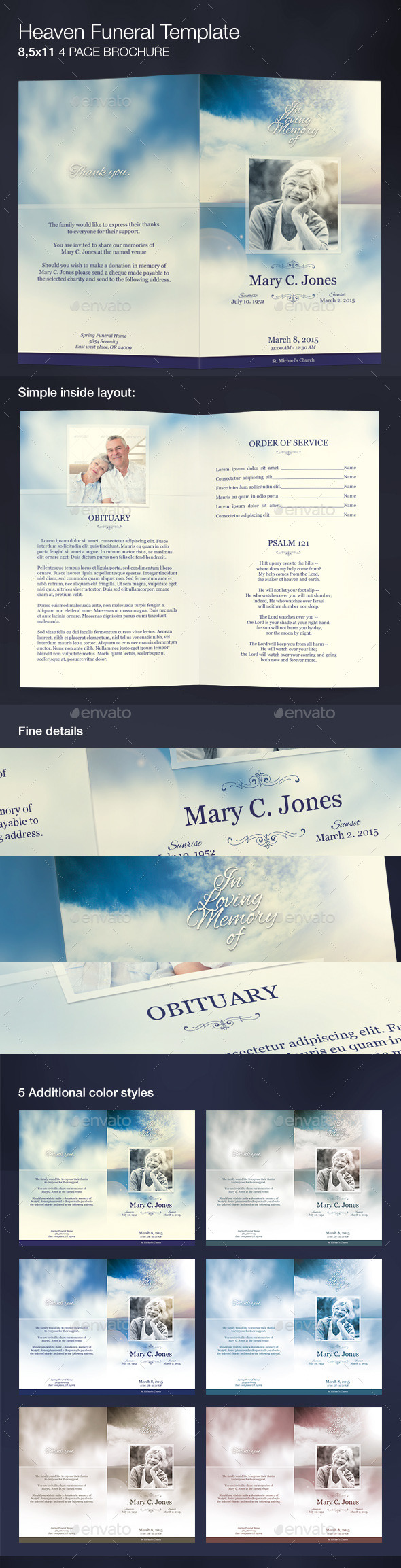 Heaven Funeral Program Template - Informational Brochures