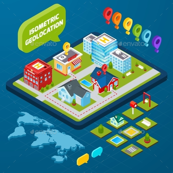 Isometric Geolocation Concept - Buildings Objects