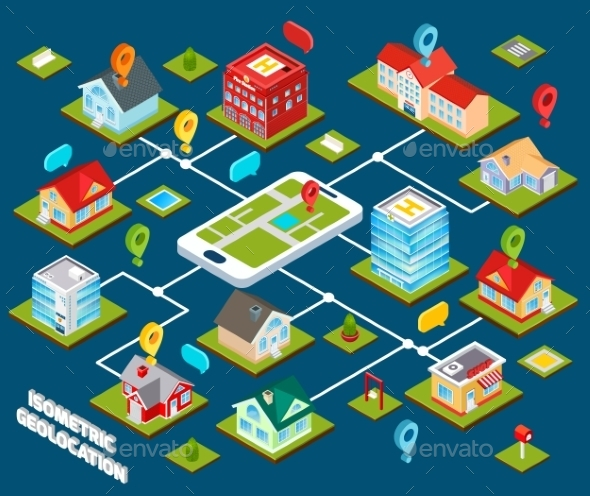 Isometric Geolocation Concept - Technology Conceptual