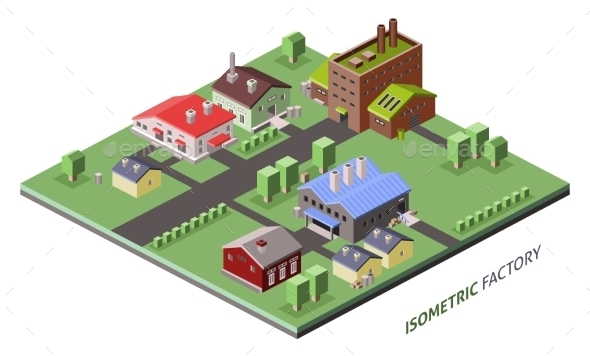 Isometric Factory Buildings - Buildings Objects