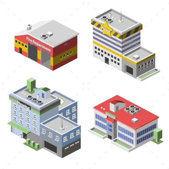 Government Buildings Set - Buildings Objects