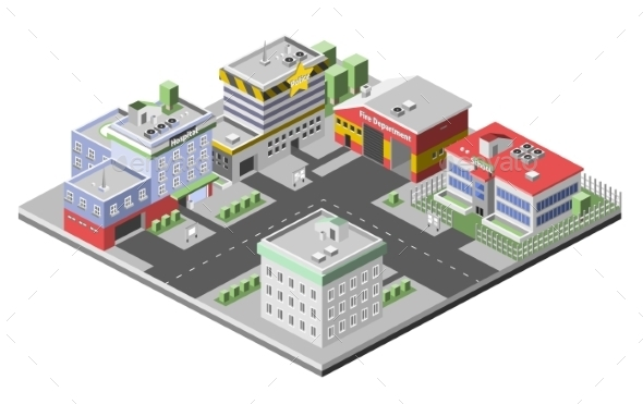 Isometric Buildings Concept - Buildings Objects