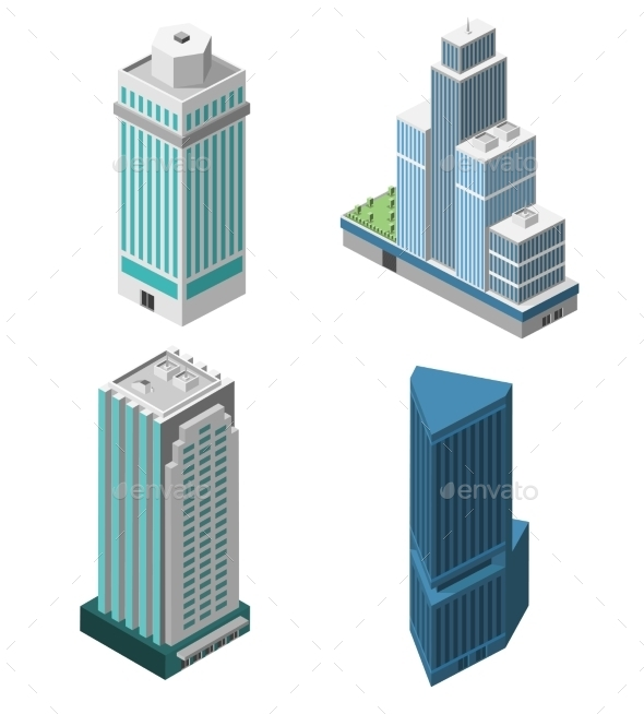 Skyscrapers Offices Set - Buildings Objects