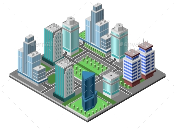 Skyscraper City Concept - Buildings Objects