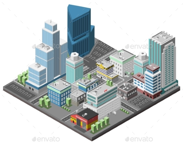 City Downtown Concept - Buildings Objects