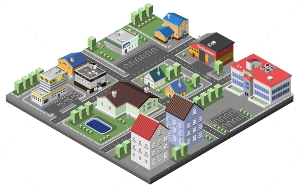 Suburban Concept Isometric - Buildings Objects