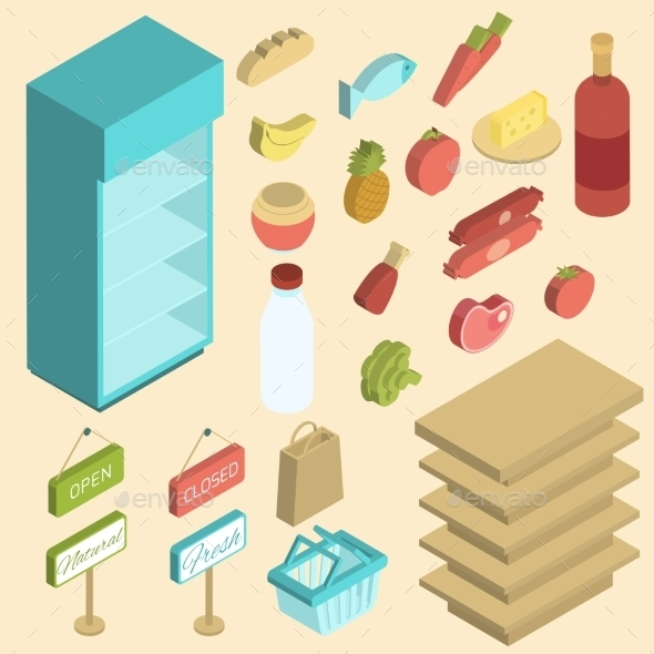 Supermarket Icon Isometric - Food Objects