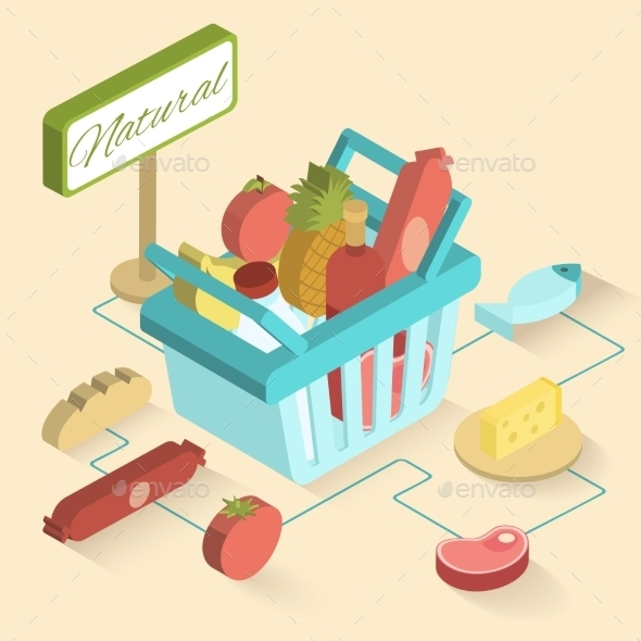 Supermarket Basket Isometric - Food Objects
