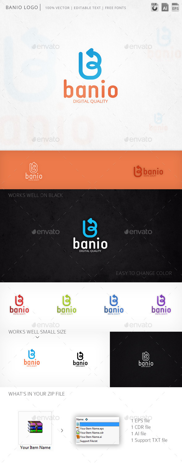 Banio Letter B Vector Logo Template - Letters Logo Templates