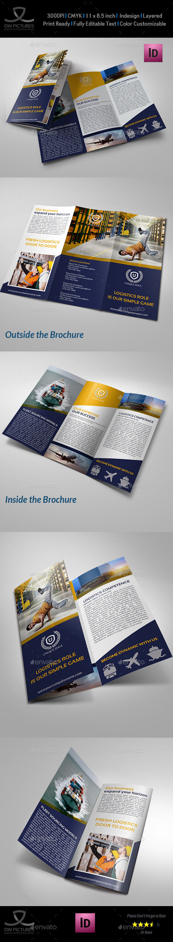 Logistic Services Tri-Fold Brochure Template Vol2 - Corporate Brochures