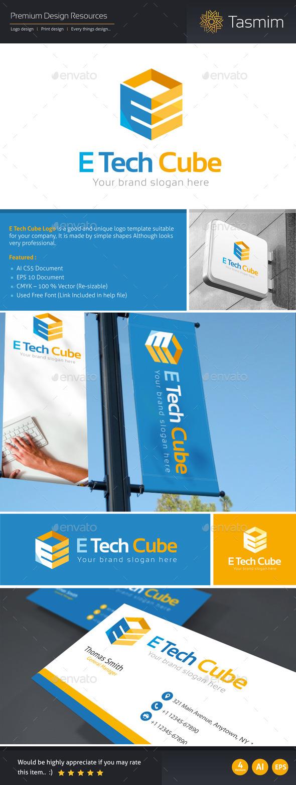E Tech Cube Logo Template - Letters Logo Templates